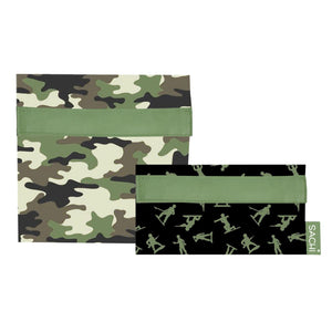 Sachi Reusable Sandwich & Snack Bags - Camo Green