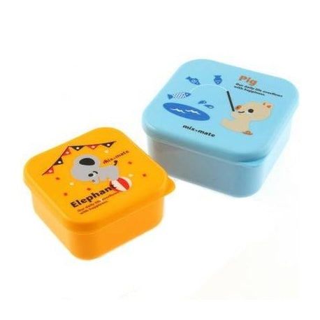 Microwavable Pig & Elephant Bento Snack Boxes - Set of 2