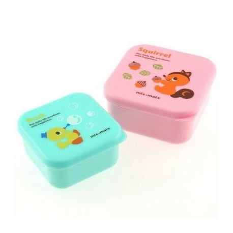 Microwavable Duck & Squirrel Bento Snack Boxes - Set of 2