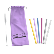 Load image into Gallery viewer, Montii Mini Straws Set - Mellow Purple Pouch