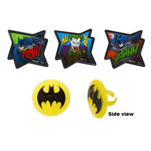 Load image into Gallery viewer, Batman Comic Food Ring / Cupcake Toppers - 4 Pack