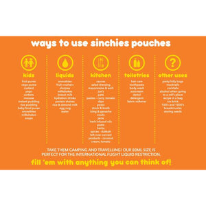 200ml Sinchies Reusable Food Pouches (10 Pack)