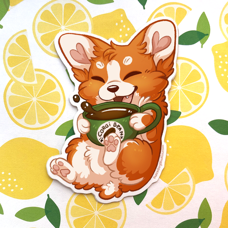 Sticker: Coffee Corgi