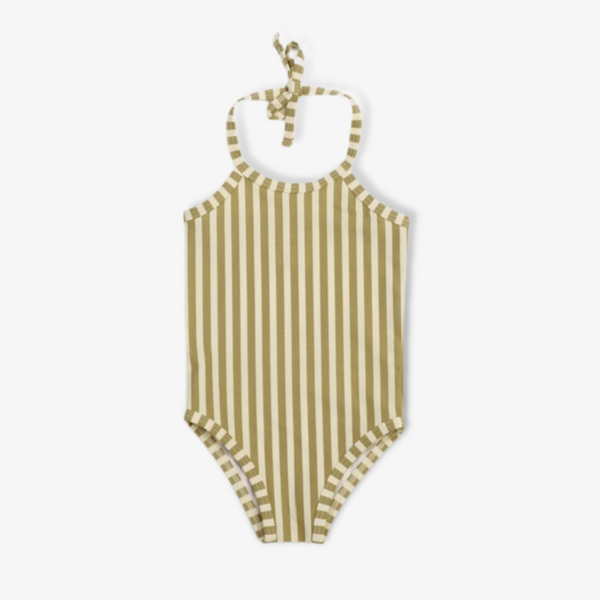 Striped Olive Swim Suit