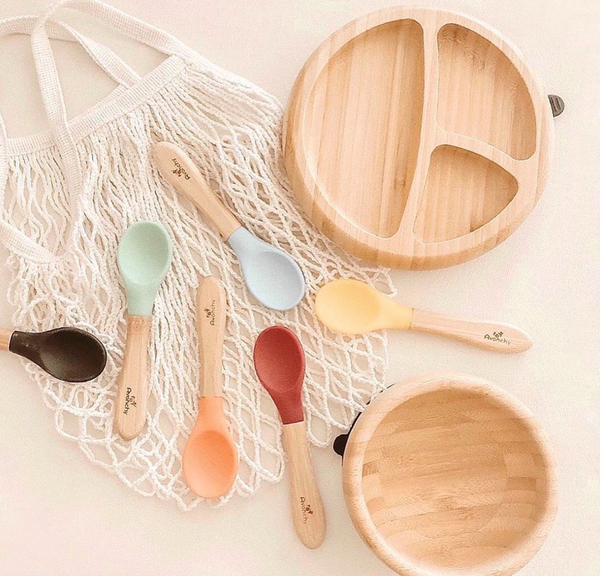 Bamboo and Silicone Spoon Set