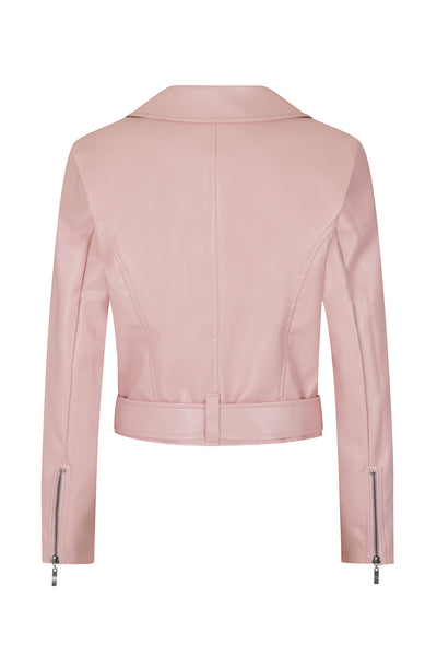 Hearts and Roses Pink Lady Faux Leather Jacket