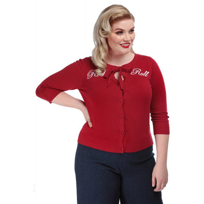 Collectif Mainline Cardigan in red knit with rock n roll embroidered on it, tie neckline with keyhole button front very cute style