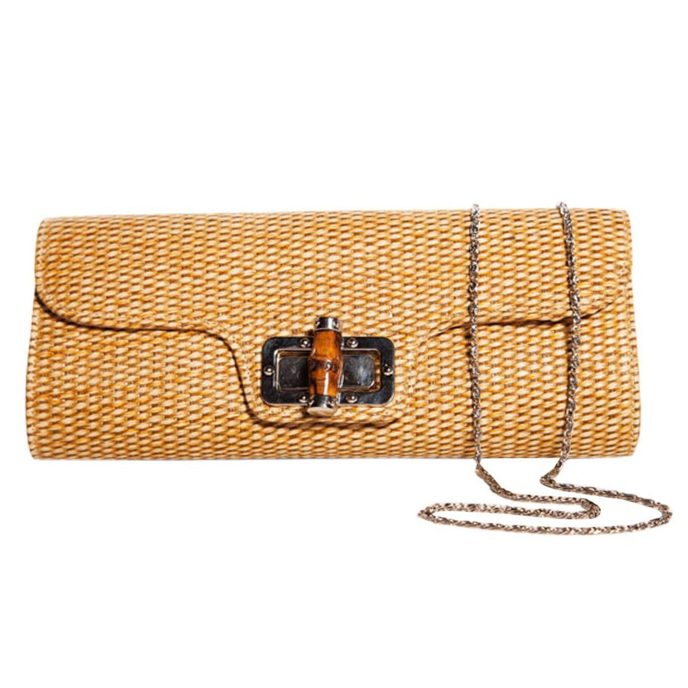 Collectif Accessories Bamboo Clutch-Caramel-Vendemia