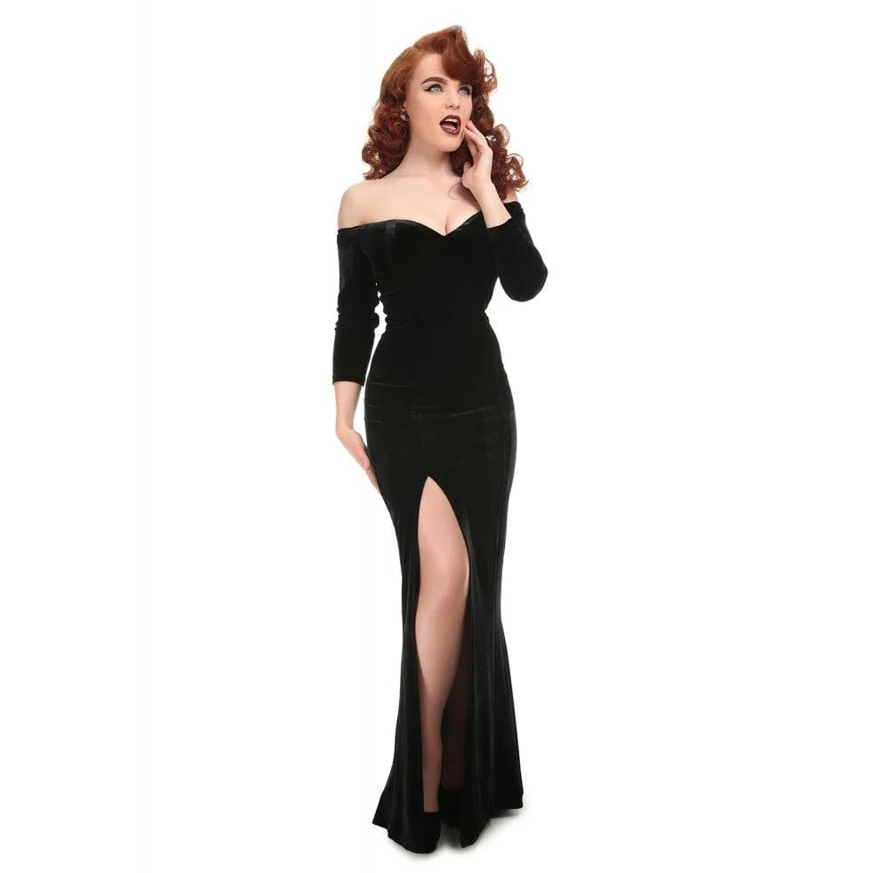 Collectif Anjelica Velvet Maxi Dress-Black-Vendemia