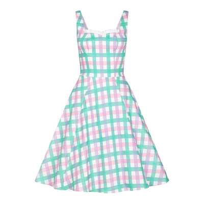 Collectif Chloe Candy Stripe Gingham Dress-Gingham-Vendemia