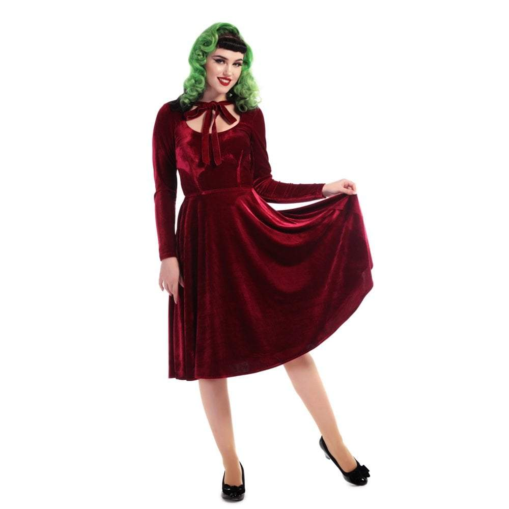 Collectif Clara Velvet Swing Dress-Wine-Vendemia