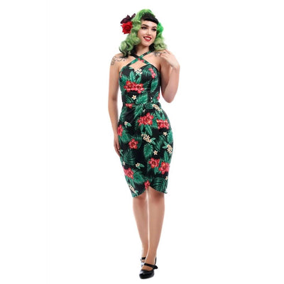 Collectif Mahina Tropical Paradise Sarong Dress-Black-Vendemia