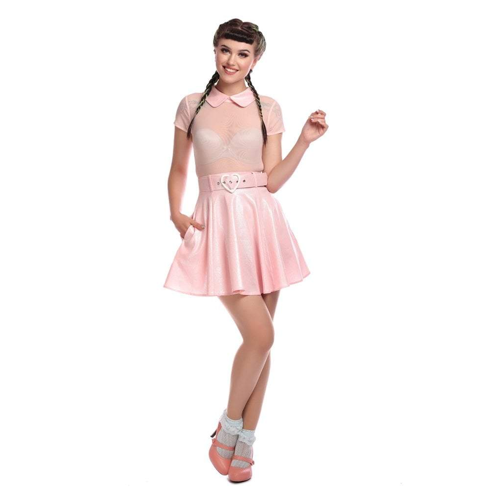 Collectif Mainline Adore Glitter Skater Dress-Pink-Vendemia