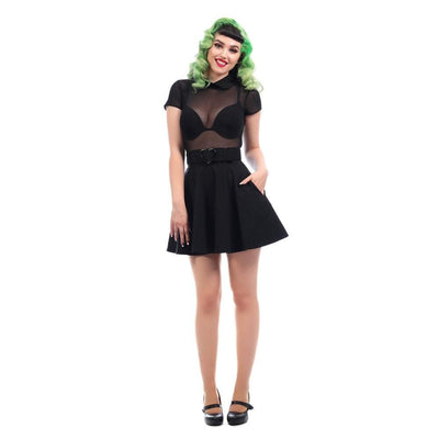 Collectif Mainline Adore Skater Dress-Black-Vendemia