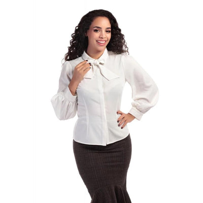 Collectif Mainline Beccy Plain Blouse Ivory-Vendemia