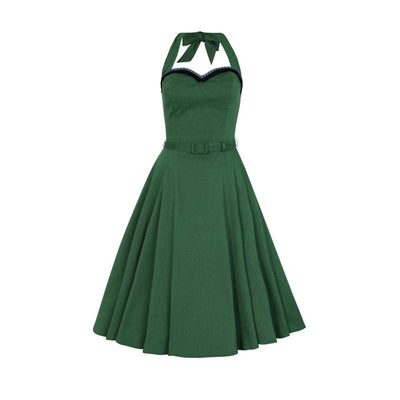Collectif Mainline Beth Fringe Doll Dress-Green-Vendemia