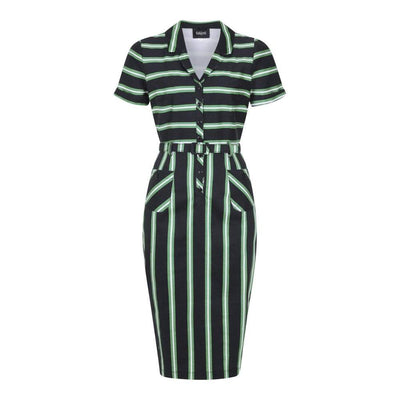 Collectif Mainline Caterina Witch Stripes Pencil Dress-Black-Vendemia