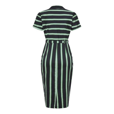 Collectif Mainline Caterina Witch Stripes Pencil Dress-Vendemia