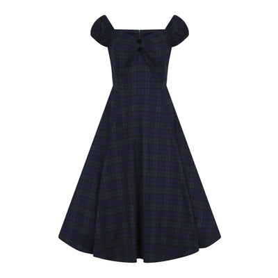Collectif Mainline Dolores Blackwatch Check Doll Dress-Tartan-Vendemia