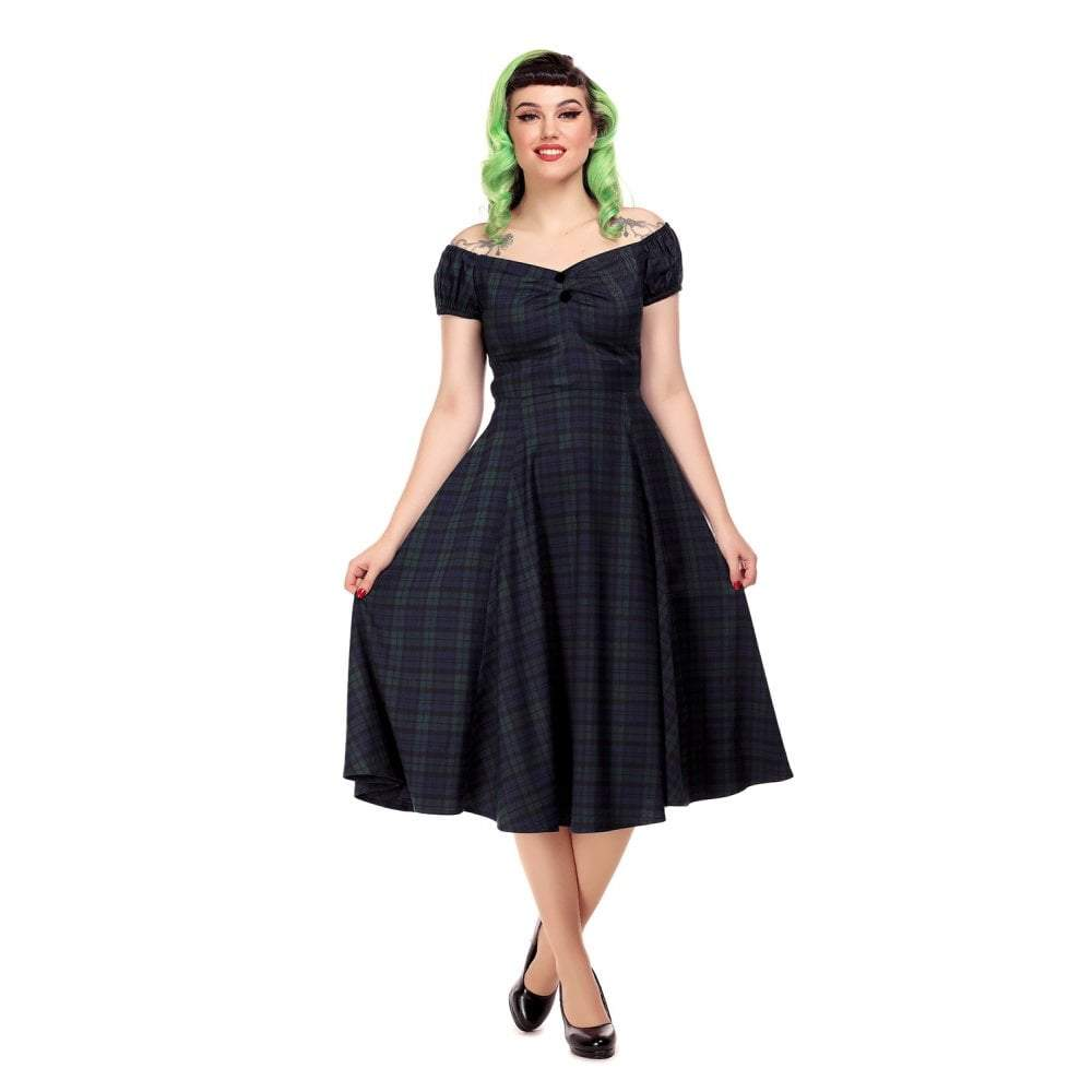 Collectif Mainline Dolores Blackwatch Check Doll Dress-Vendemia