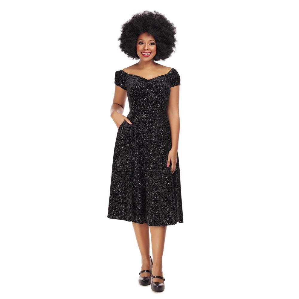 Collectif Mainline Dolores Glitter Drops Doll Dress-Black-Vendemia