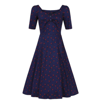 Collectif Mainline Dolores Half Sleeve Ladybird Doll Dress-Navy-Vendemia