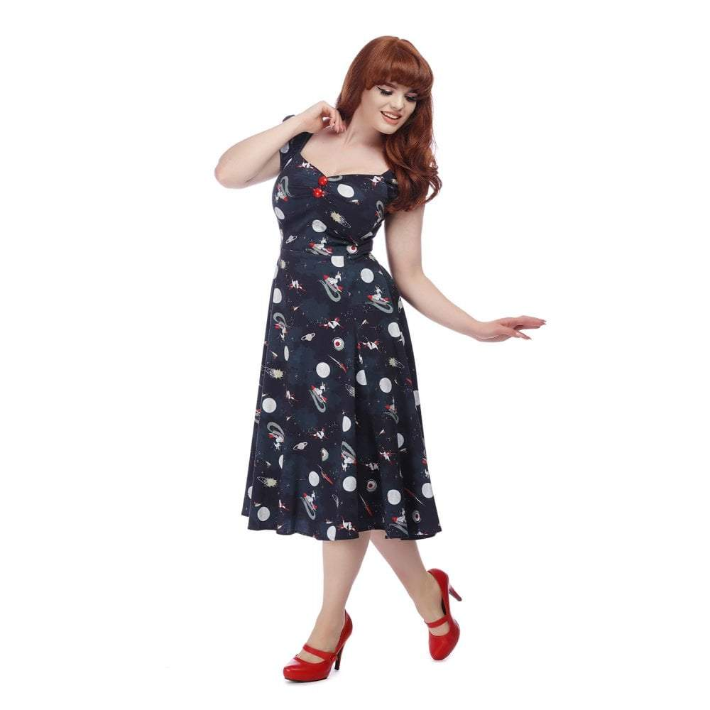 Collectif Mainline Dolores Space Pin Up Doll Dress-Multi Coloured-Vendemia