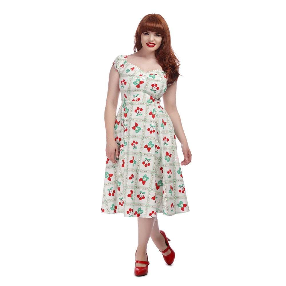 Collectif Mainline Dolores Sweetheart Picnic Doll Dress-Red Cherries-Vendemia
