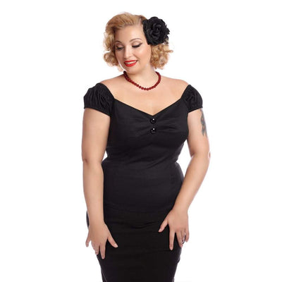 Collectif Mainline Dolores Top Plain-Black-Vendemia