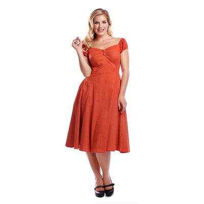 Collectif Mainline Dolores Vintage Plain Doll Dress-Vendemia