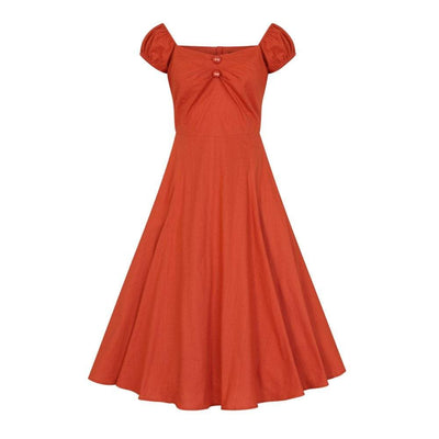 Collectif Mainline Dolores Vintage Plain Doll Dress-Orange-Vendemia