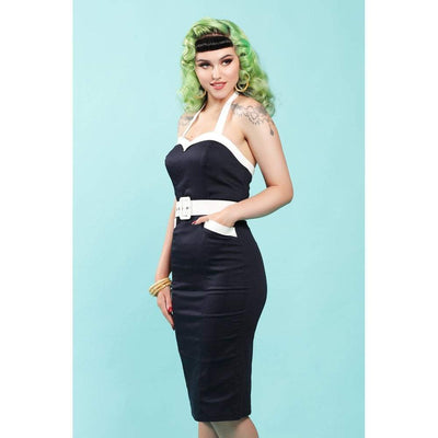 Collectif Mainline Georgie Nautical Pencil Dress-Vendemia