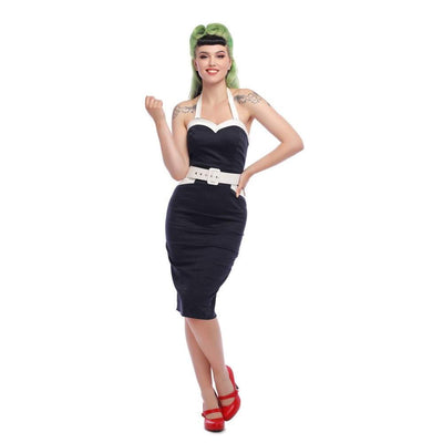 Collectif Mainline Georgie Nautical Pencil Dress-Navy-Vendemia