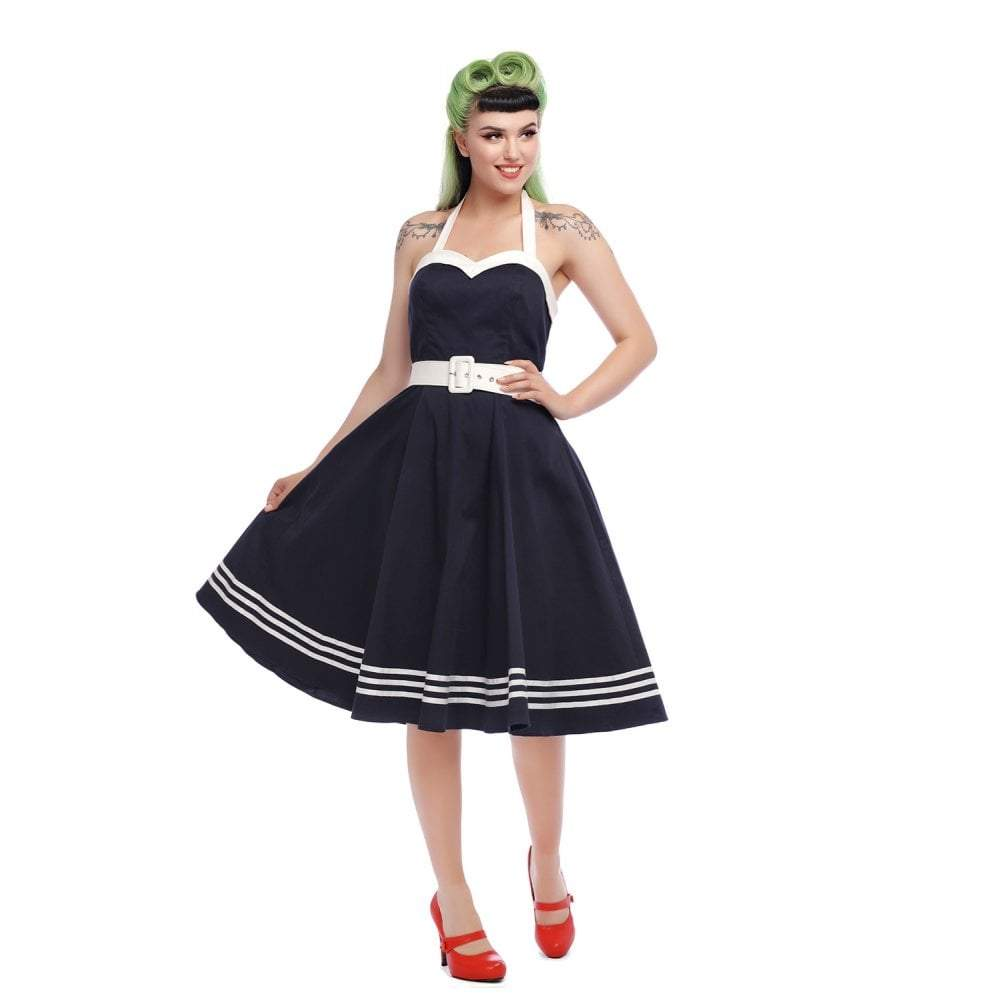 Collectif Mainline Georgie Nautical Swing Dress-Navy-Vendemia