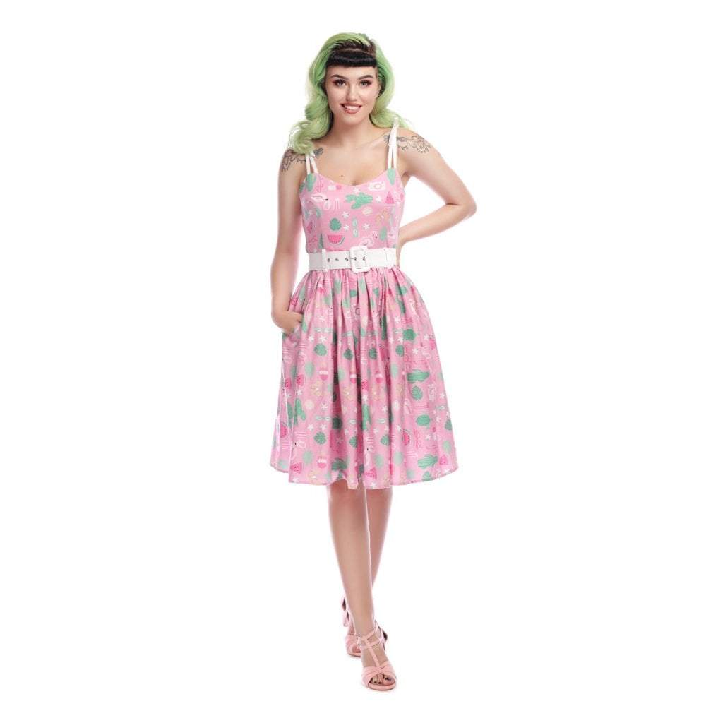 Collectif Mainline Jade Summer Flamingo Swing Dress-Vendemia
