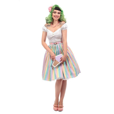 Collectif Mainline Jasmine Rainbow Stripes Swing Skirt-Vendemia