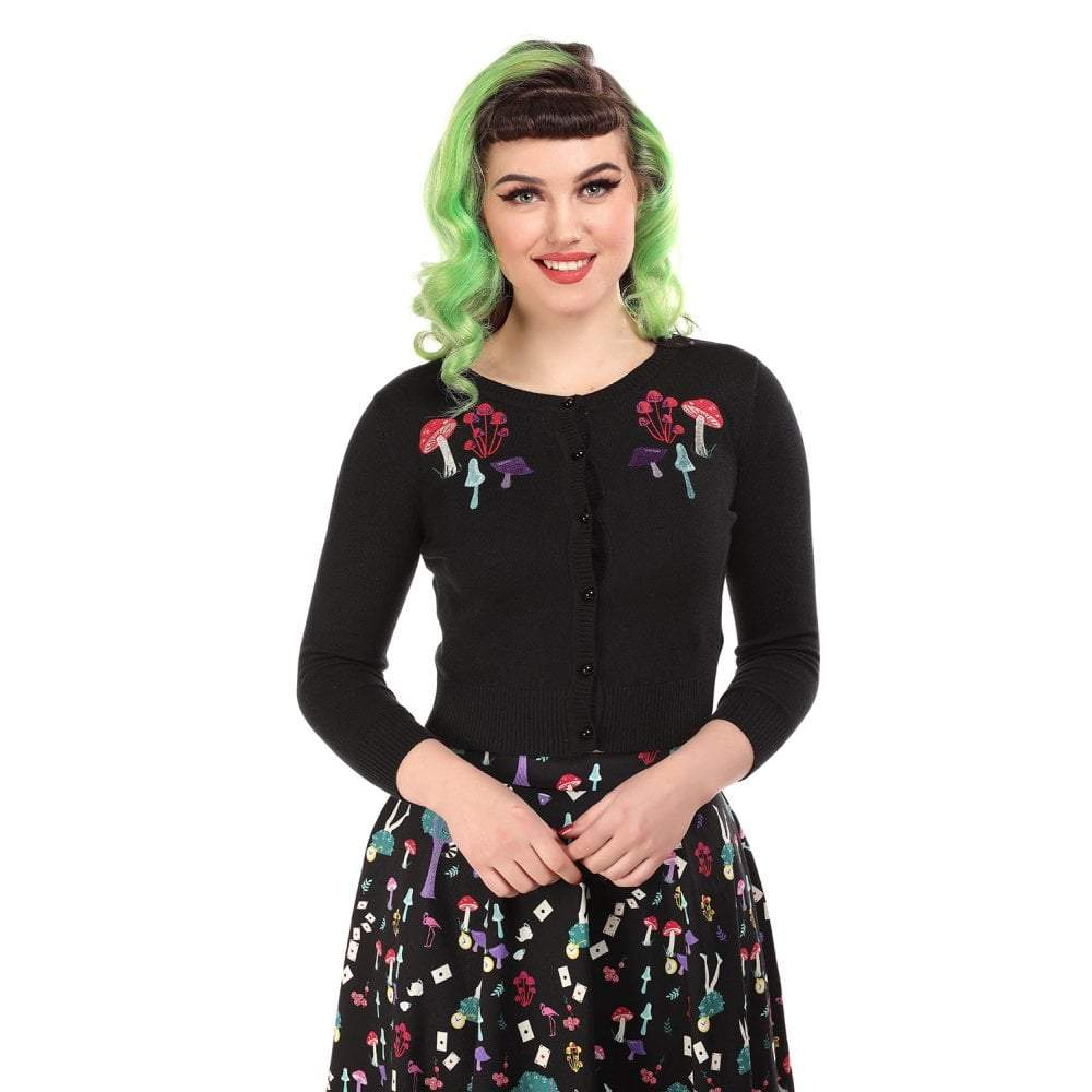 Collectif Mainline Jessie Mushrooms Cardigan-Black-Vendemia