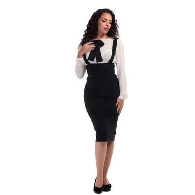 Collectif Mainline Karen Suspender Pencil Skirt Black-Vendemia