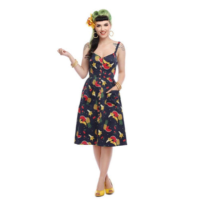 Collectif Mainline kimberly Polka Fruit Swing Dress-Vendemia
