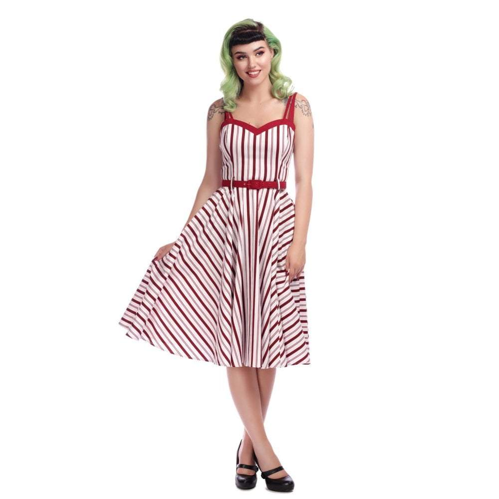 Collectif Mainline Nova Candy Stripe Swing Dress-Vendemia