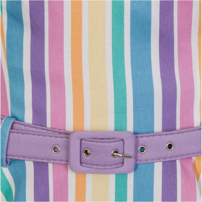 Collectif Mainline Nova Rainbow Stripes Swing Dress-Vendemia