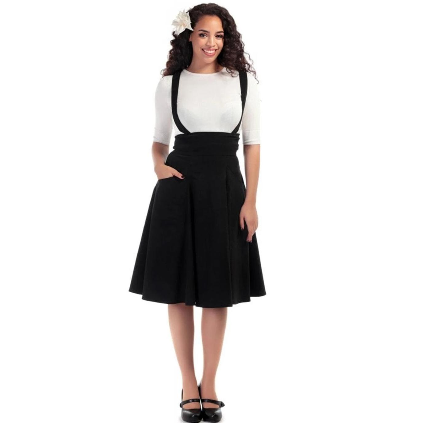 Collectif Mainline Plain Swing Skirt Black-Black-Vendemia