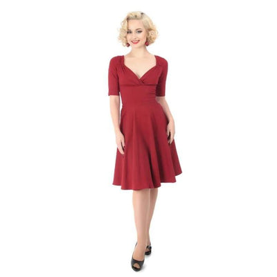 Collectif Mainline Trixie Doll Dress Wine-Wine-Vendemia