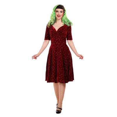 Collectif Mainline Trixie Velvet Sparkle Doll dress-Red-Vendemia
