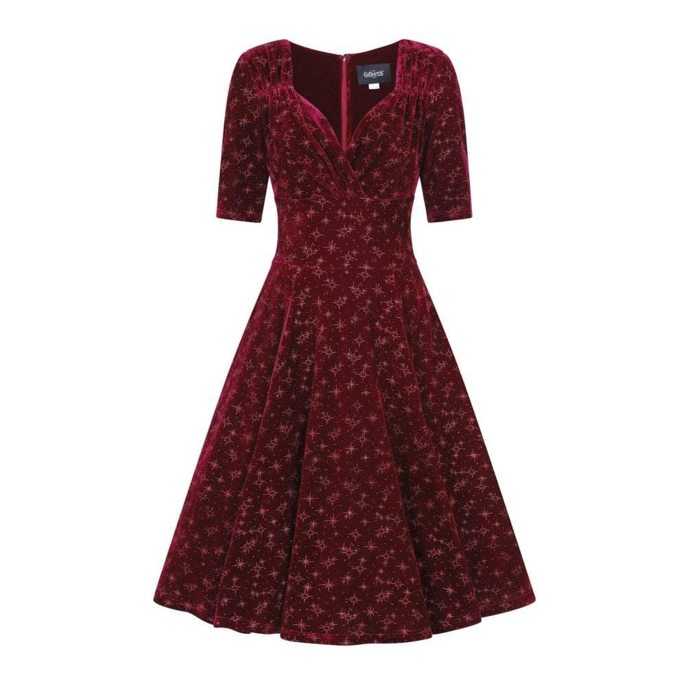 Collectif Mainline Trixie Velvet Sparkle Doll dress-Vendemia
