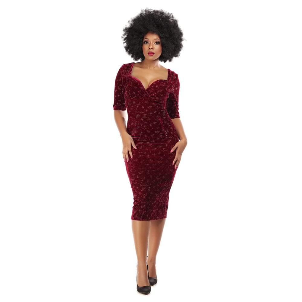 Collectif Mainline Trixie Velvet Sparkle Pencil dress-Red-Vendemia