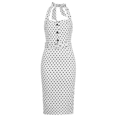 Collectif Mainline Wanda Polka Dot Pencil Dress-Vendemia