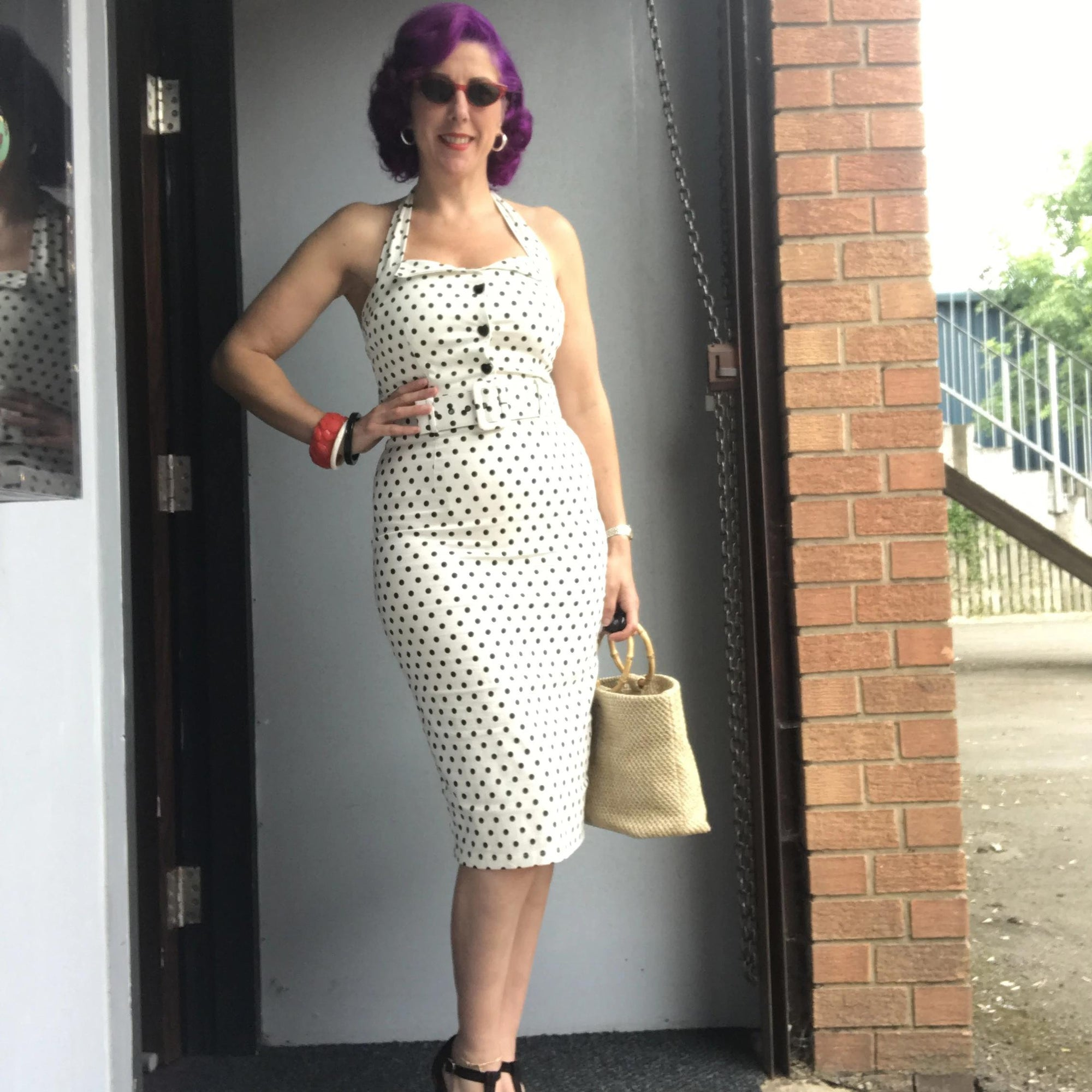 Collectif Mainline Wanda Polka Dot Pencil Dress
