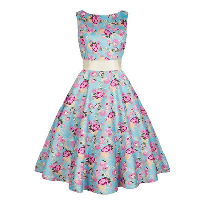Collectif Margaret Peony Floral Swing Dress-Blue-Vendemia