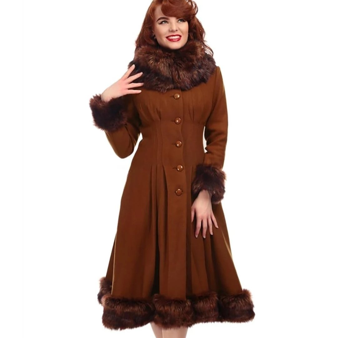 Collectif Vintage Pearl Coat Tan